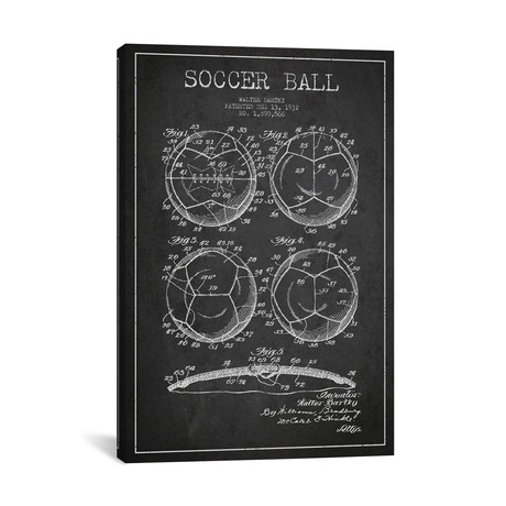 "Bartky Soccer Ball Charcoal Patent Blueprint // Aged Pixel (26""W x 40""H x 1.5""D)"