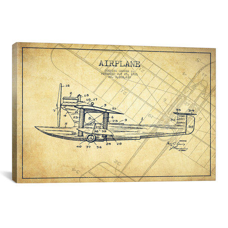 Airplane Patent Blueprint // Vintage