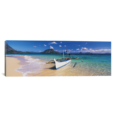 """Fishing boat moored on the beach, Palawan, Philippines // Panoramic Images (36""""W x 12""""H x 0.75""""D)"""
