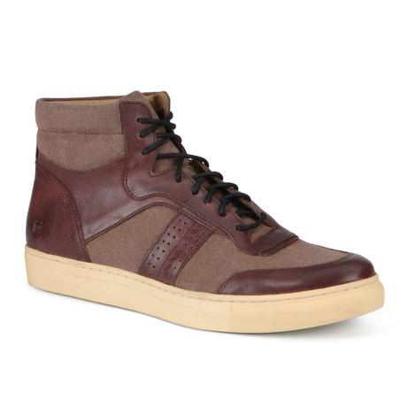 Concord High-Top Sneaker // Oxblood + Cream