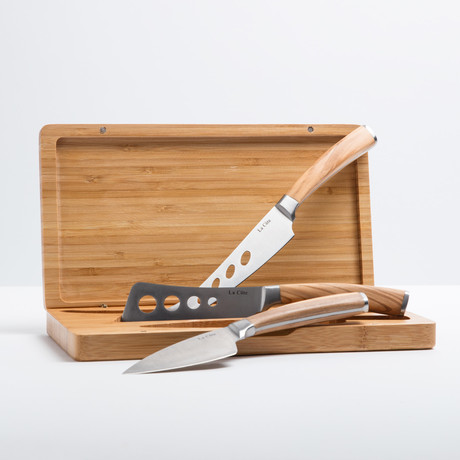 Olive Wood Cheese Set + Bamboo Case // 3 Pieces