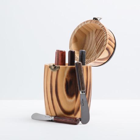 Pakka Wood Spreader Set + Pine Wood Mini Barrel // 6 Pieces