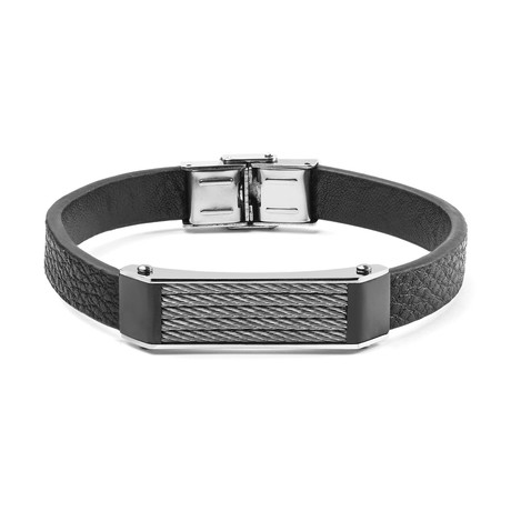 Stainless Steel Cable Inlay ID Plate Bracelet // Black