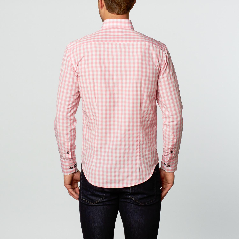 Oscar dress shirt pink check s bespoke touch of for Pink checkered dress shirt