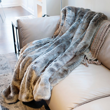 Couture Faux Fur Throw // Timber Wolf