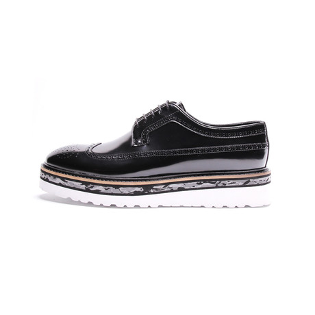 Brogue Wingtip Stacked Sole Derby // Black Patent