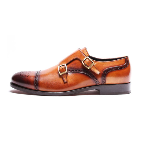 Semi-Brogue Double Monkstrap // Tobacco