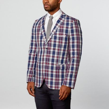 Scott Plaid Blazer // Navy + Red