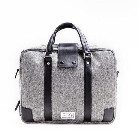 Hamptons Briefcase // Grey + Black