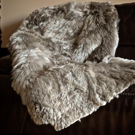 "Alpaca Suri Throw // 47"" x 71"" (Charcoal)"