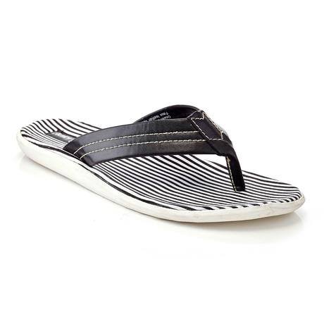 Ocean Club Striped Thong Sandal // Black