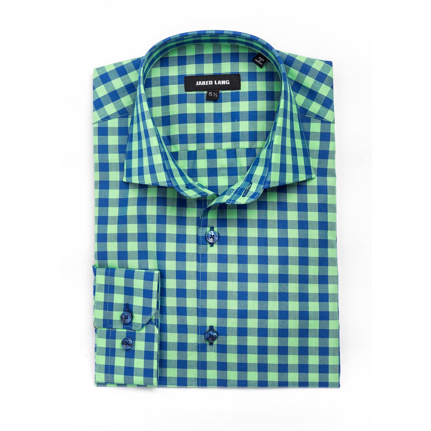 Large Gingham Dress Shirt Green Navy Us S 15r