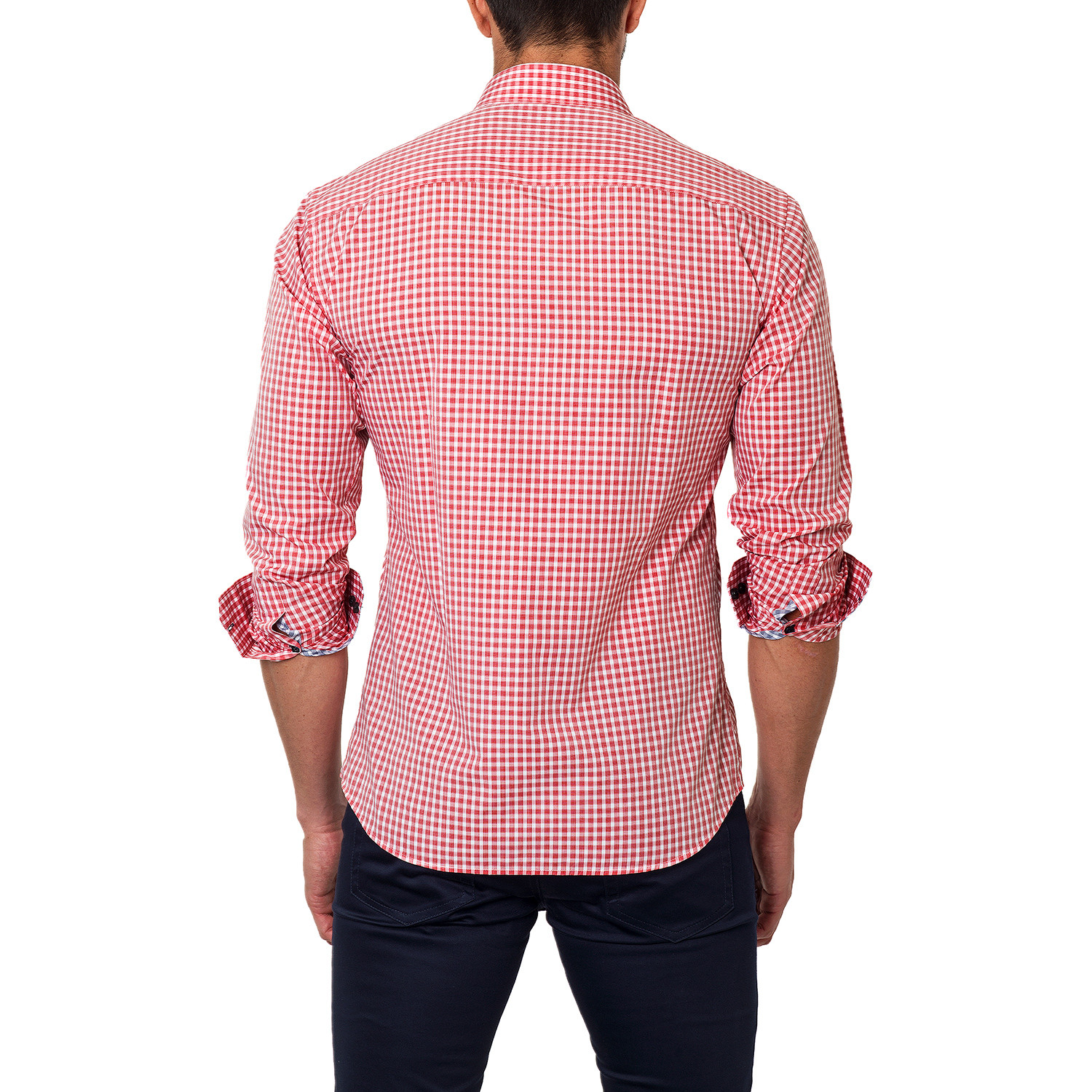 Plaid dress shirt red us s 15r jared lang touch for Pink checkered dress shirt