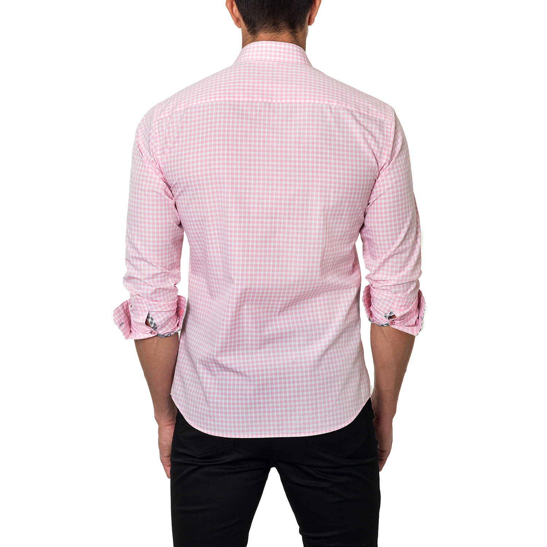 Plaid dress shirt pink us s 15r jared lang touch for Pink checkered dress shirt