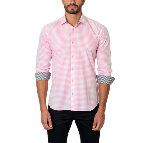 Plaid Dress Shirt // Pink