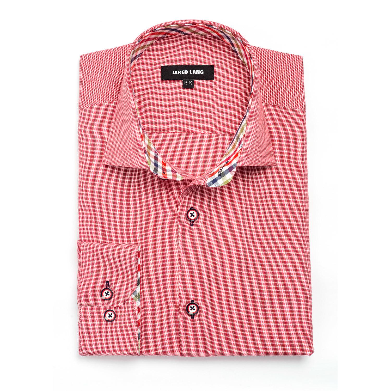 Plaid placket dress shirt red us s 15r jared lang for Red plaid dress shirt