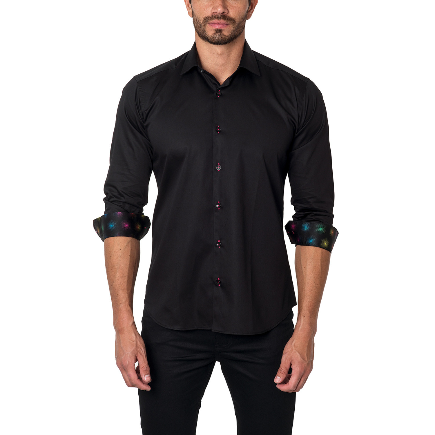 Jared lang classic dress shirt solar placket black for Untucked shirts for sale