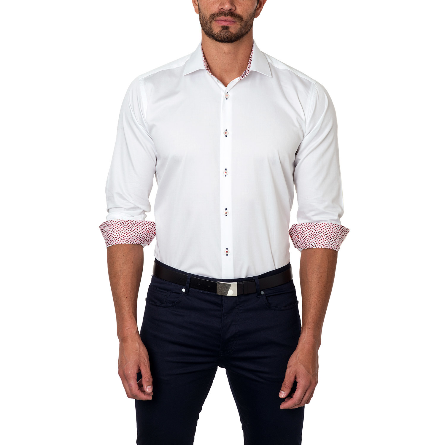 Classic dress shirt contrast placket white us s 15r for Classic white dress shirt