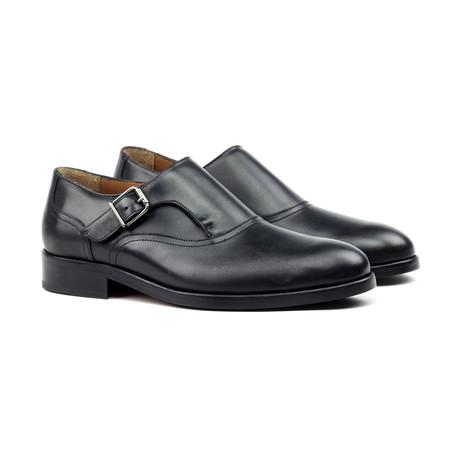 Leather Monk Strap Shoe // Black