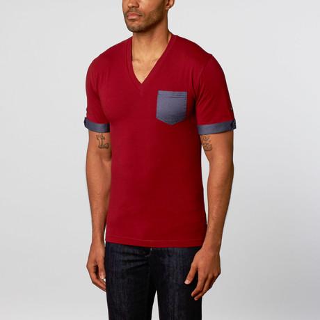 Short-Sleeve V-Neck // Burgundy