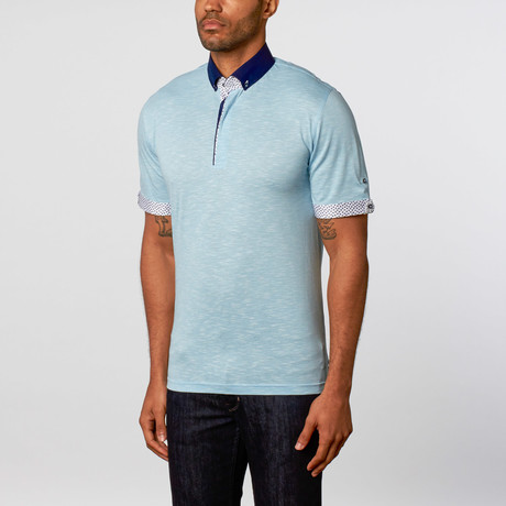 Short sleeve polo wavy blue s maceoo touch of modern for Stiff collar polo shirt