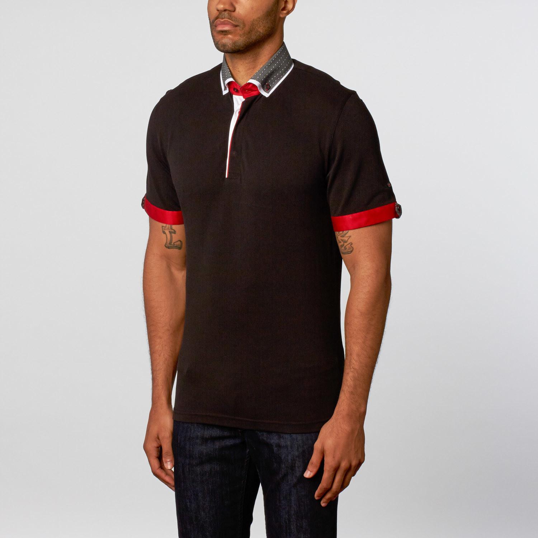 Double collar short sleeve polo black s maceoo for Stiff collar polo shirt