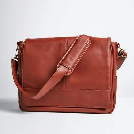 """Executive 15"""" Laptop Messenger Bag // Tan"""
