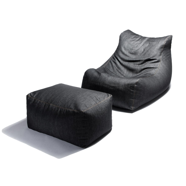 Denim Bean Bag Chair + Ottoman - Denim Bean Bag Chair + Ottoman - Jaxx Denim - Touch Of Modern
