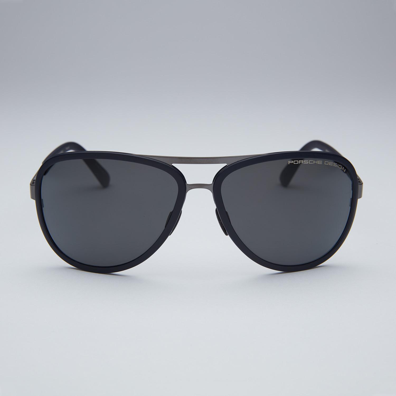 00d0308258e Porsche Titanium Sunglasses    Black Gunmetal Frame + Grey Lens ...