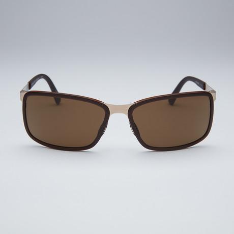 Gold Frame Rectangular Sunglasses : Porsche Rectangular Sunglasses // Gold Frame + Brown Lens ...
