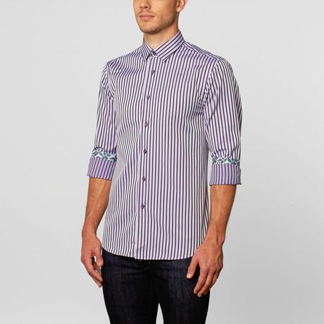 Coogi // Classic Button-Up // Purple + White (M)