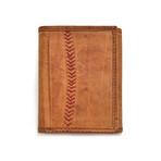 Baseball Stitch Tri-Fold Wallet // Tan