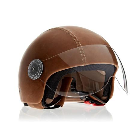 Vintage Havana Brown Leather Helmet
