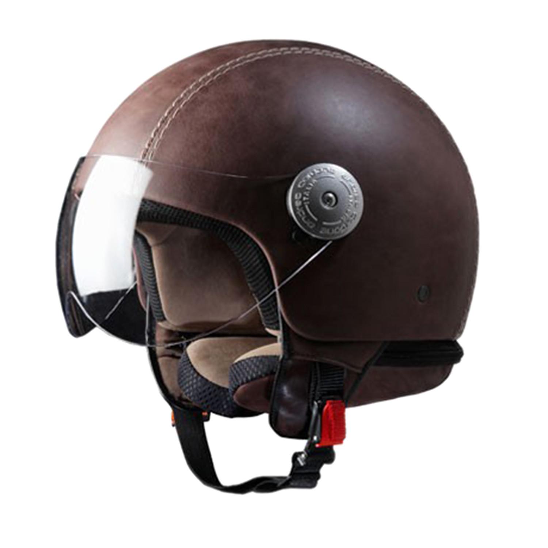 Vintage Brown Leather Helmet // With Visor (24 ...
