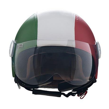Italian Block Stripes Leather Helmet