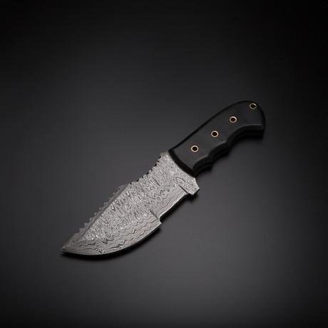 Damascus Handmade Tracker Knife + Pouch // TRK-02