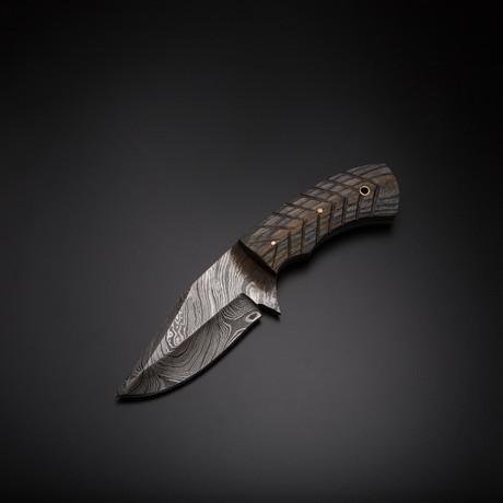 Damascus Handmade Skinner Knife + Pouch // SK-57