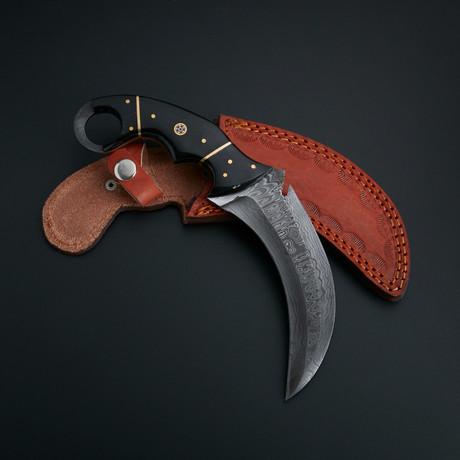 Damascus Karambit Knife + Pouch // KBT-01