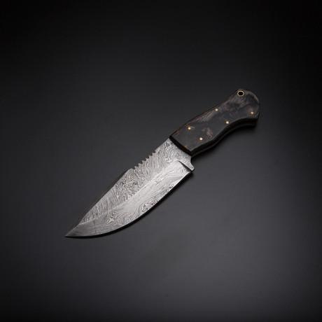 Damascus Handmade Hunting Knife + Pouch // HK-55