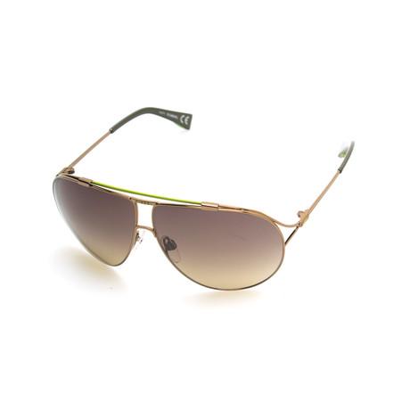 Danny Sunglasses // Gold + Neon Green + Brown Lens ...