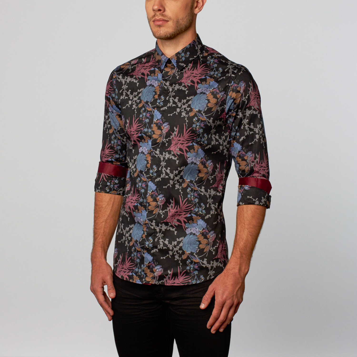 platini japanese garden button up shirt black s