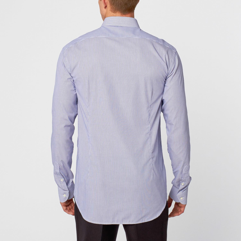 Slim striped dress shirt blue white us 15 5r for Blue white dress shirt