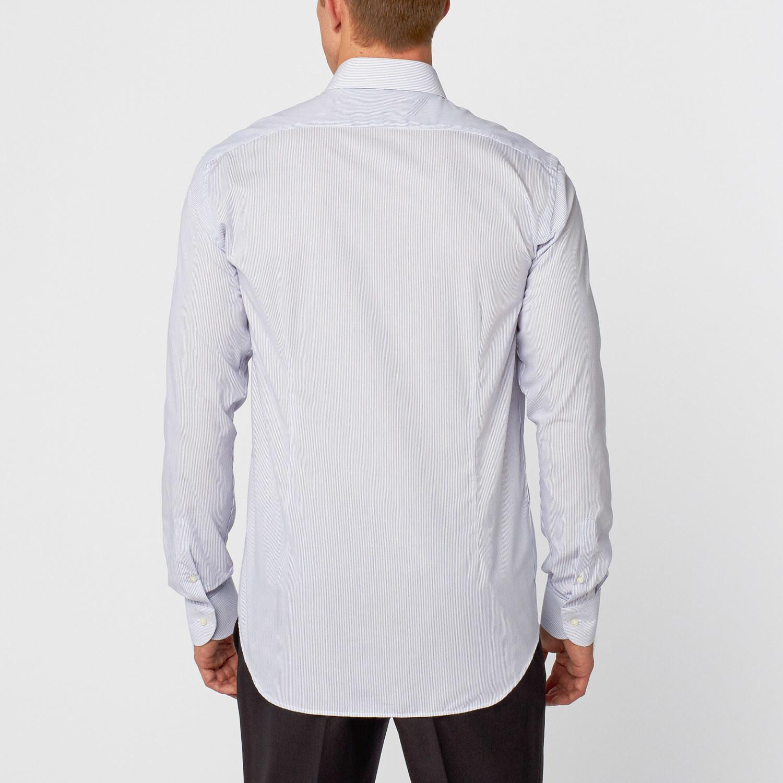 Pinstripe dress shirt blue white us 15 5r for Blue white dress shirt