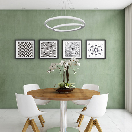 Tania Duo // Double Orbicular Chandelier // White
