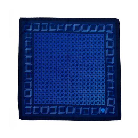 Pocket Square // Blue Squares + Black Border