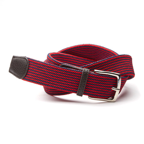 Outrigger Weave Belt // Navy + Red