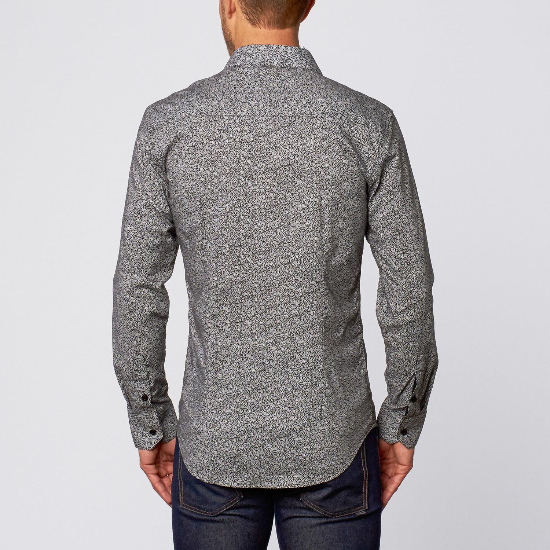 Simple flower print button up shirt black s isaac b for Floral print button up shirt