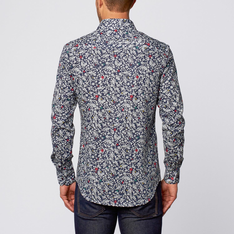 Wildflower Print Button Up Shirt Navy S Isaac B