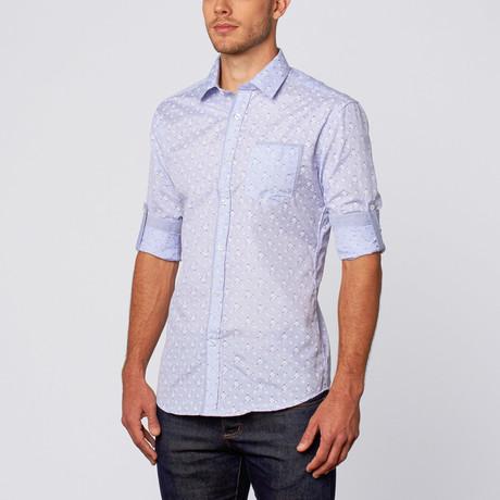 Bouquet Print Button-Up Shirt // Blue