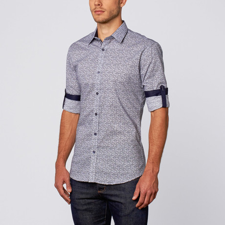 Disconnected Bubble Print Button-Up Shirt // Navy